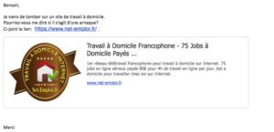 Net-emploi : l'exemple d'un faux site d'annonces de travail à domicile qui peut faire très mal
