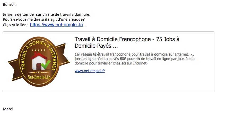 copie ecran mail site arnaque net-emploi