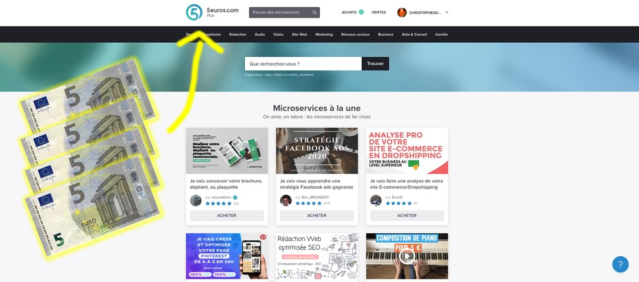 page accueil du site 5euros.com avec des billets de 5 euros
